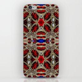 trendy stylish luxury girly glam red silver rhinestone iPhone Skin
