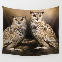 Two Owls Wall Tapestry