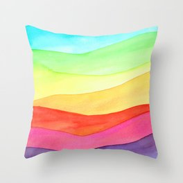Rainbow hills Throw Pillow