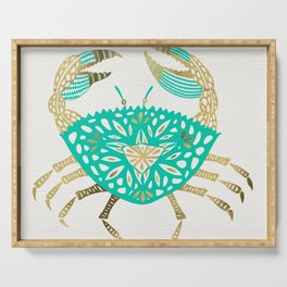 Crab – Turquoise & Gold Serving Tray