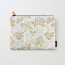 Elegant Gold On White Leafs Pattern Carry-All Pouch