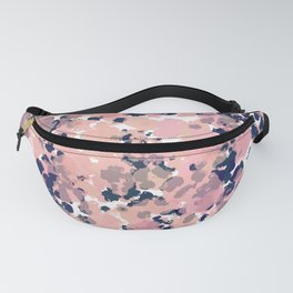 Smudgy Painted Abstract Pattern in Navy Blue, Pink, and Blush on White Fanny Pack