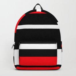 Horizontal Strips Pattern  Black Red White Backpack