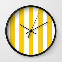 Jonquil yellow - solid color - white vertical lines pattern Wall Clock