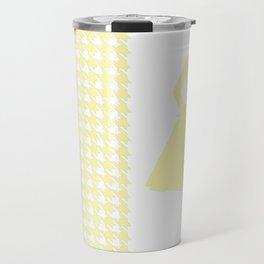 Cream Modern Houndstooth w/ Fashion Silhouette Travel Mug