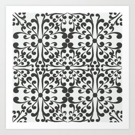 Indian Decorative Motifs-Black & White Art Print