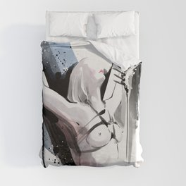The beauty of tight binding, Naked body tied up to a pole, Nude art, Fine-art shibari rope bondage Duvet Cover
