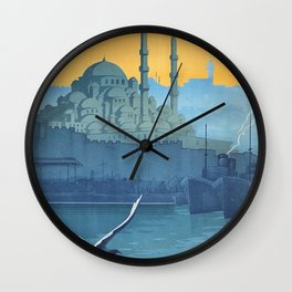 Mid Century Modern Travel Vintage Poster Istanbul Turkey Grand Mosque Wall Clock