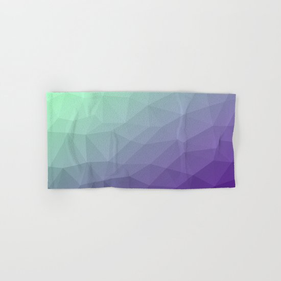 Purple green ombre gradient geometric mesh Hand & Bath Towel