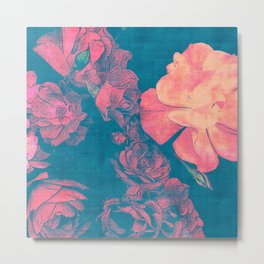 Rose Garden Blue 2- Texture Rose Study in red peach scarlet indigo Metal Print