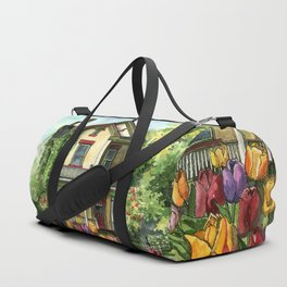 Farmhouse with Spring Tulips Duffle Bag