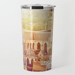 Bruges cityscape with St. Sauveur cathedral, Belgium Travel Mug