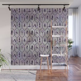 Amethyst Yoga Asanas pattern on mother of pearl Wall Mural