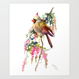 Cardinal Bird Earth Green Olive green Pink Art Print