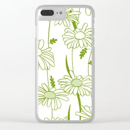 Flowing Daisies Spring Green Clear iPhone Case