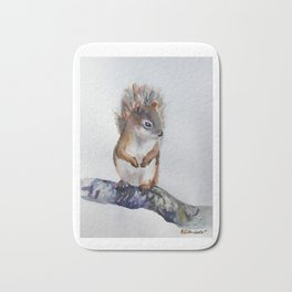Watercolor Baby Squirrel Woodland Animals Nursery Series Bath Mat