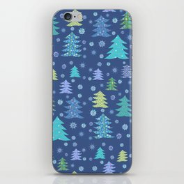 Winter Christmas Trees and Snowflakes in Purple, Blue and Green iPhone Skin
