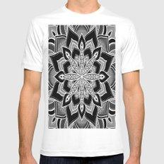 Mandala: Black Gray White Flower White Mens Fitted Tee MEDIUM