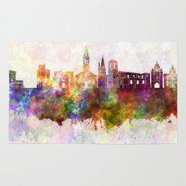 La Rochelle skyline in watercolor background Rug