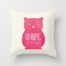 Owl love you forever - Pink Owl Throw Pillow