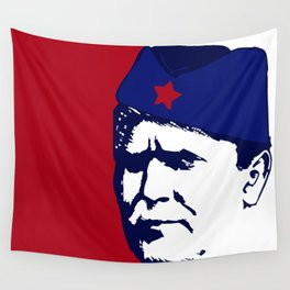 Tito Josip Broz Yugoslavia  -  portrait red star  Wall Tapestry