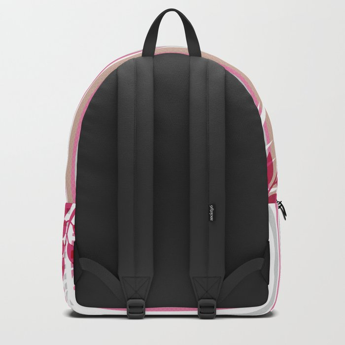 Red butterflies and pink striped leaves on a white background . Backpack