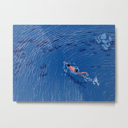 Swimming alone in the sea at night Metal Print