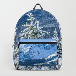 Powder Forest // Through the Trees Blue Snow Cap Mountain Backdrop Backpack