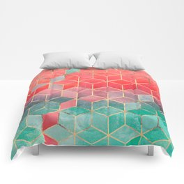 Rose And Turquoise Cubes Comforters