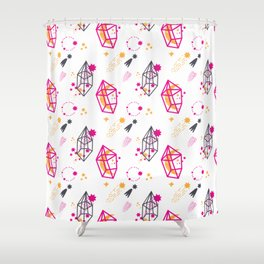 Modern hand painted pink black yellow geometrical space Shower Curtain