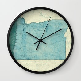 Oregon State Map Blue Vintage Wall Clock