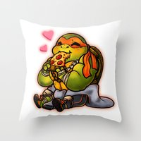 chibi Throw Pillows featuring Chibi Michelangelo by Noodles ^7^