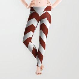 Burnt umber - red color - Zigzag Chevron Pattern Leggings
