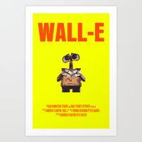wall e Art Prints featuring Wall-E by FunnyFaceArt