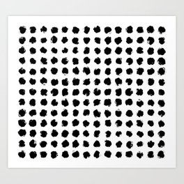 Black and White Minimal Minimalistic Polka Dots Brush Strokes Painting Art Print