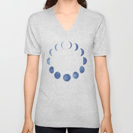 Blue Moon Phases | Watercolor Painting Unisex V-Neck