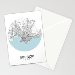 Montevideo, Uruguay City Map - Circle Stationery Cards