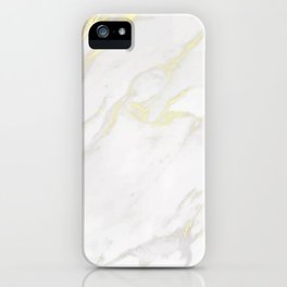 White marble gold accents iPhone Case