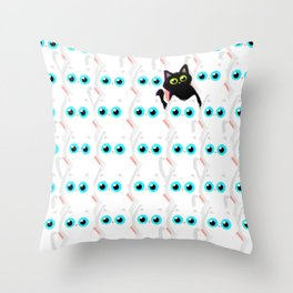White cats and one black Throw Pillow