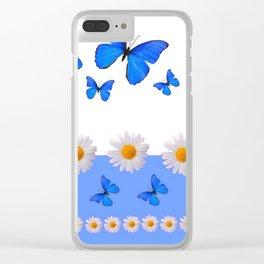 BABY BLUE MODERN ART BLUE BUTTERFLIES & WHITE DAISIES Clear iPhone Case