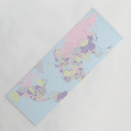 Pastels world map, highly detailed, The world is your oyster, square Yoga Mat