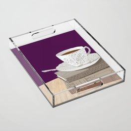 Teacup, Jane Austen, & Charlotte Brontë Books Acrylic Tray
