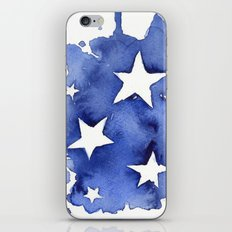 Stars Abstract Blue Watercolor Geometric Painting iPhone & iPod Skin