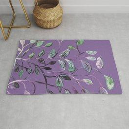 Silky Lavender Greenery Leaves Rug
