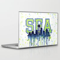 seahawks Laptop & iPad Skins featuring Seattle 12th Man Art Watercolor Space Needle Painting  by Olechka