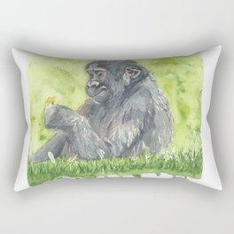 Baby Gorilla Watercolor Painting Rectangular Pillow