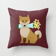 Flower Dog Throw Pillow
