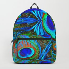 BLUE  PEACOCK EYE FEATHER ABSTRACT Backpack