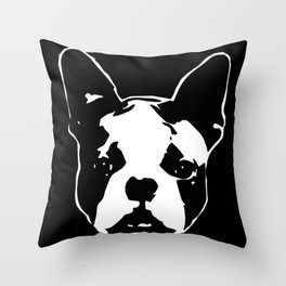 CHRISTMAS WITH YOUR BOSTON TERRIER DOG GIFT WRAPPED FOR YOU FROM MONOFACES Throw Pillow