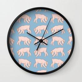 Kawaii Walking Schnauzer Pattern Wall Clock